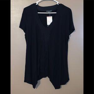 Black Short Sleeve Stitched Tunic